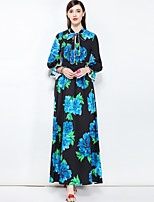 cheap -MARY YAN&YU Women's Party Cute Boho Swing Maxi Dress,Floral Basic Stand Long Sleeve Cotton Spring Summer