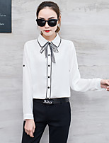 cheap -Women's Casual/Daily Street chic Shirt,Solid Shirt Collar Long Sleeves Others