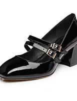 preiswerte -Damen Schuhe PU Frühling Herbst Komfort High Heels Blockabsatz Quadratischer Zeh Geschlossene Spitze für Normal Schwarz Rot
