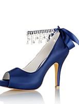 economico -Da donna Scarpe Raso elasticizzato Primavera Estate Decolleté scarpe da sposa A stiletto Punta aperta Cristalli Perle per Formale Serata