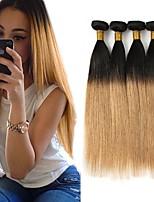 economico -3 pezzi Nero / Strawberry Blonde Dritto Brasiliano Tessiture capelli umani Extensions per capelli 0.3kg