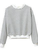 cheap -Women's Daily Holiday Casual Street chic Spring Fall T-shirt,Striped Round Neck Long Sleeve Polyester