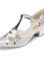 economico -Danza moderna Finta pelle Sneaker Intagli A stiletto Nero Argento Personalizzabile