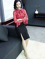 Недорогие -Для женщин Для вечеринок Офис Секси Уличный стиль Оболочка Платье Однотонный,Воротник-стойка Средней длины Длинные рукава Полиэстер