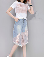 cheap -Women's Daily Casual Summer Set Skirt Suits,Print Round Neck Short Sleeve Polyester