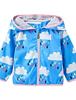 cheap -Girls' Daily Round Dots Cartoon Suit & Blazer,Polyester Long Sleeves Casual Yellow Blue