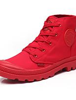 abordables -Femme Chaussures Toile Printemps Automne Confort boîtes de Combat Bottes Talon Plat Bottine/Demi Botte pour Décontracté Blanc Noir Rouge
