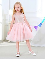cheap -Girl's Holiday Going out Solid Simple Dress,Cotton Acrylic All Seasons Sleeveless Vintage Cute Princess Gray Blushing Pink