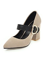 cheap -Women's Shoes Leatherette Spring Summer Comfort Heels Chunky Heel Pointed Toe for Casual Dress Yellow Beige Black