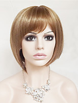 cheap -Synthetic Hair Wigs kinky straight Bob Haircut With Bangs Party Wig Natural Wigs Short Strawberry Blonde/Light Blonde