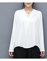 cheap -Women's Daily Casual Fall Shirt,Solid V Neck Long Sleeve Cotton Opaque