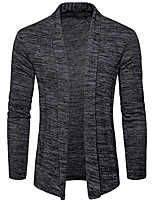 cheap -Men's Daily Casual Regular Cardigan,Solid Shirt Collar Long Sleeves Polyester Winter Fall Opaque Micro-elastic