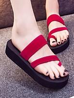 Недорогие -Жен. Обувь Полиуретан Лето Удобная обувь Тапочки и Шлепанцы На плоской подошве Круглый носок для Повседневные Черный Пурпурный Красный