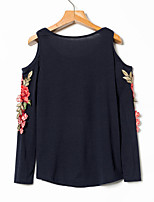 cheap -Women's Daily Sexy Spring Summer T-shirt,Floral Round Neck Long Sleeve Cotton