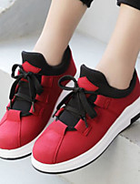 cheap -Women's Shoes PU Spring Fall Comfort Sneakers Flat Closed Toe for Casual Outdoor Red Gray Black