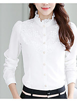 cheap -Women's Daily Simple Spring Fall Blouse,Solid Stand Long Sleeve Polyester
