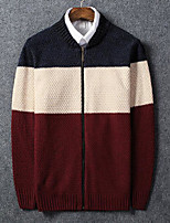 cheap -Men's Cardigan - Color Block Round Neck