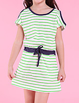 cheap -Girl's Striped Dress,Cotton Spring Summer Short Sleeves Simple Fuchsia Yellow Navy Blue Green