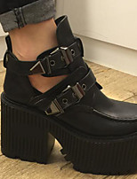 cheap -Women's Shoes PU Spring Fall Bootie Boots Chunky Heel Round Toe Booties/Ankle Boots Buckle for Outdoor White Black