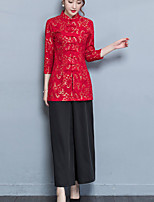 cheap -Women's Casual/Daily Chinoiserie Autumn/Fall Set Pant Suits,Print Stand ¾ Sleeve Cotton