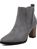cheap -Women's Shoes PU Spring Fall Comfort Bootie Boots Chunky Heel for Casual Gray Black
