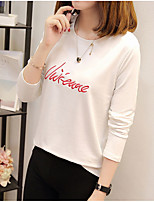 cheap -Women's Daily Casual T-shirt,Letter Round Neck Long Sleeve Cotton