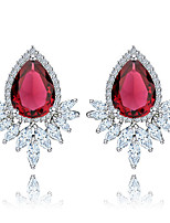 cheap -Women's Stud Earrings Synthetic Ruby Basic Zircon Copper Leaf Drop Jewelry Christmas Daily