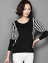 cheap -Women's Daily Casual Fall T-shirt,Striped Round Neck Long Sleeve Cotton Medium