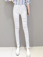 preiswerte -Damen Retro Mittel Baumwolle Solide Einfarbig Legging,Weiß Schwarz