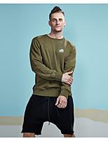 economico -Felpa Da uomo Casual Attivo Moda città Quotidiano Sport Tinta unita Rotonda Media elasticità Cotone Poliestere Maniche lunghe Inverno