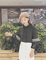cheap -Women's Casual/Daily Street chic Shirt,Solid Shirt Collar Long Sleeves Cotton