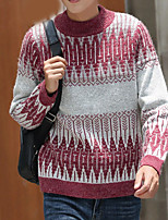 preiswerte -Herren Standard Pullover-Alltag Freizeit Druck Rundhalsausschnitt Langarm Polyester Winter Herbst Undurchsichtig Mikro-elastisch