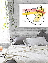 cheap -People Abstract Illustration Wall Art,PVC Material With Frame For Home Decoration Frame Art Living Room Kitchen Dining Room Bedroom
