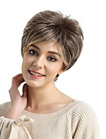 cheap -Synthetic Wig Straight Side Part Pixie Cut With Bangs Capless Women's Brown Natural Wigs