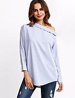 cheap -Women's Daily Vintage Shirt,Striped Shirt Collar Long Sleeve Cotton