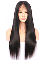 cheap -Human Hair Peruvian Lace Wig Straight With Baby Hair Glueless Lace Front Unprocessed Natural Hairline 130% Density Natural Black Short