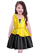 cheap -Girl's Daily Holiday Patchwork Dress,Cotton Summer Sleeveless Cute Casual Yellow Red Blue