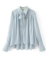 cheap -Women's Daily Going out Casual Fall Shirt,Striped Shirt Collar Long Sleeve Cotton Thin