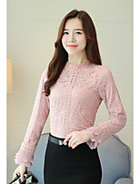 cheap -Women's Casual/Daily Sophisticated Blouse,Solid Stand Long Sleeves Polyester