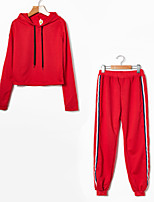 cheap -Women's Daily Sports Simple Casual Spring Fall Hoodie Pant Suits,Solid Color Hooded Long Sleeve Cotton Micro-elastic
