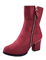 cheap -Women's Shoes PU Spring Fall Comfort Boots Chunky Heel Round Toe Mid-Calf Boots for Casual Red Black