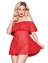 cheap -Women's Ultra Sexy Nightwear,Bateau Solid-Sheer Polyester Spandex Red