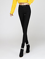cheap -Women's Classic Cotton Polyester Thick Solid Color Legging,Solid Black White