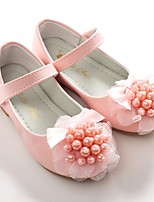 cheap -Girls' Shoes Leatherette Spring Fall Flower Girl Shoes Ballerina Flats Bowknot Imitation Pearl Magic Tape for Wedding Party & Evening
