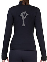 cheap -Figure Skating Fleece Jacket Women's Girls' Ice Skating Jacket Random Colors Black+Sliver Black/Silver Black Spandex High Elasticity