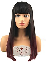 cheap -Women's  Synthetic Wigs Wine Red Ombre Hair Long straight Fashion Hair Capless Natural Wigs Cosplay Wig
