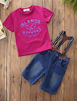 Недорогие -Мальчики Набор одежды Для вечеринок Повседневные Хлопок Полиэстер Однотонный С принтом Лето С короткими рукавами Простой На каждый день