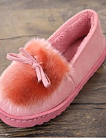 cheap -Women's Shoes Fleece Winter Fall Comfort Slippers & Flip-Flops Flat Heel Round Toe for Casual Black Gray Fuchsia Pink