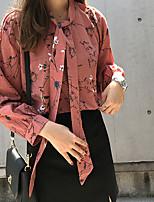 cheap -Women's Casual/Daily Cute Shirt,Print Round Neck Long Sleeves Cotton