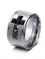 cheap -Men's Band Rings Cubic Zirconia European Rock Stainless Steel Zircon Cross Jewelry Going out Club